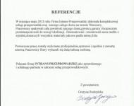 Referencje - Grażyna Budzyńska